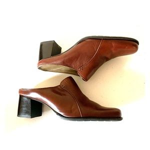 Naturalizer Brown Leather Slip On Heeled Mules 8.5